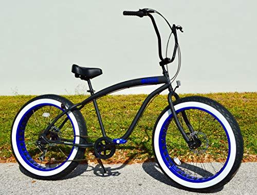 Sikk Fat Tire Beach Cruiser Bicycle 7 Speed Flat Black Blue Wheels WW ()