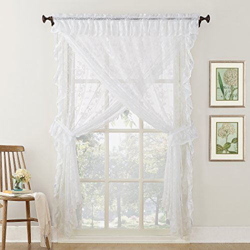 No. 918 Alison Ruffled Floral Lace Sheer Priscilla 5-Piece Curtain Set, 58
