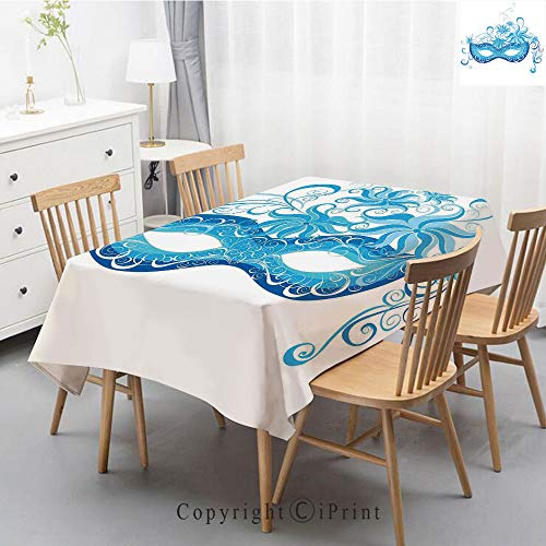 Premium Linen Printed Tablecloth,Ideal for Grand Events and Regular Home Use,Machine Washable,55x87 Inch,Masquerade,Venetian Style Mask Majestic Impersonating Enjoying Halloween Night Theme,Blue