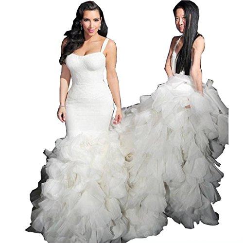 Chady Sweetheart Spaghetti Mermaid Wedding dresses 2017 Plus Size Organza Ruffles Bridal Wedding Dresses