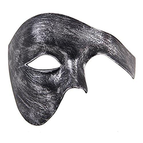 Mens Masquerade Mask Phantom of The Opera Mask Venetian Half Face Mask Halloween Costumes (Antique Silver Black) -