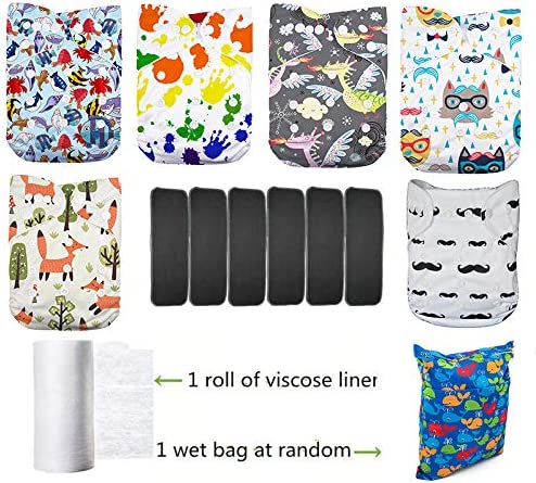 Lilbit 6 Adjustable Baby Cloth Diapers with 6 Bamboo Charcoal Inserts,Flushable Viscose Liners,Wet//Dry Bag Ymxtzzh09