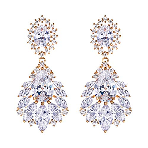 BriLove Wedding Bridal Cubic Zirconia Earrings for Women Peacock Feather Shaped Chandelier Dangle Earrings Clear Gold-Toned (Zirconia Stud Cubic Marquise)