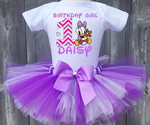 (Baby Daisy Duck Personalized Birthday Outfit Tutu Set)