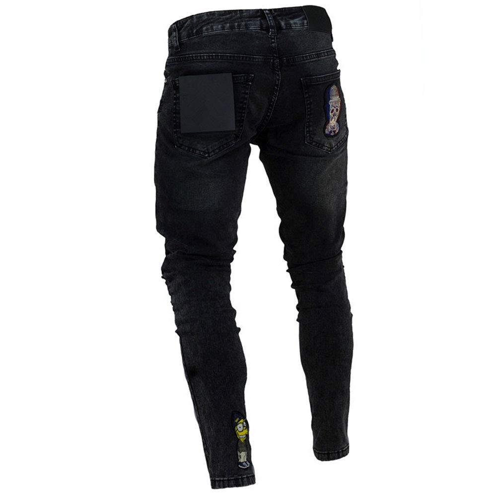 Hombre Wanyangg Pantalones Jeans Vaqueros Hombres Rotos Slim Fit Skinny Elastizado Mezclilla Pantalones Casuales Elasticos Pantalon Denim Jeans Con Cremallera Y Parche De Dibujos Animados Ropa Reskill Uom Gr