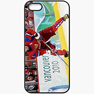 Personalized iPhone 5 5S Cell phone Case/Cover Skin Alexander Ovechkin Hockey Form Stick Board Sportsman Game Black