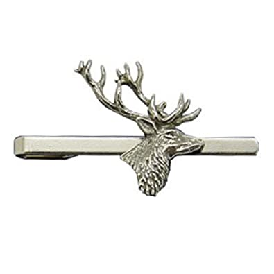 93c968f266b9 Stag's Head Pewter Tie Clip or Slide, Handcast in England: Amazon.co.uk:  Jewellery
