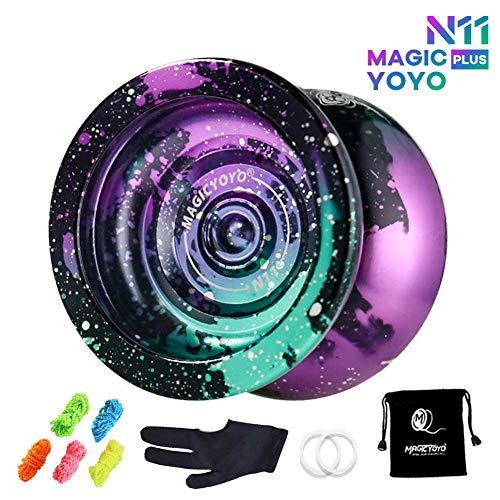 MAGICYOYO Yoyo Professional N11 Unresponsive Pro Yoyos Metal Yoyo 4 Colors Yoyo Toy, + 5 Strings and Glove and Yo-yo Bag