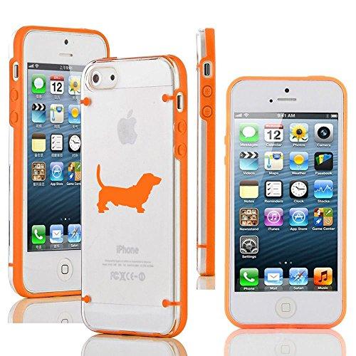 Orange Hounds (For Apple iPhone SE Transparent Clear Hard TPU Case Cover Basset Hound (Orange))