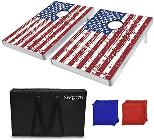GoSports Cornhole Bean Bag Toss Game Set – Superior Aluminum Frame (American Flag, Football, LED and Classic designs)