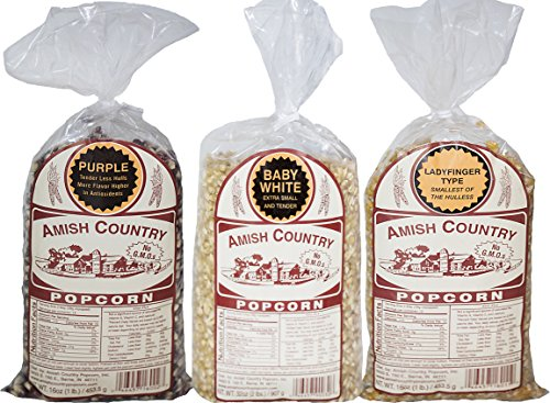 Amish Country Popcorn -3 (1 lb. Bag Variety)-1 Lbs each of Baby White, Ladyfinger, and Purple Popcorn - Old Fashioned, Non GMO, and Gluten Free - with Recipe Guide and 1 Year Freshness Warranty ()