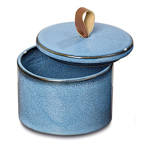 Gaucho Rustic Round Decorative Box, Artisan Crafted, Cobalt and Ocean Blue, Porcelain, Leather Loop Handled Lid, 4 Inches in Diameter, 3 Inches Tall