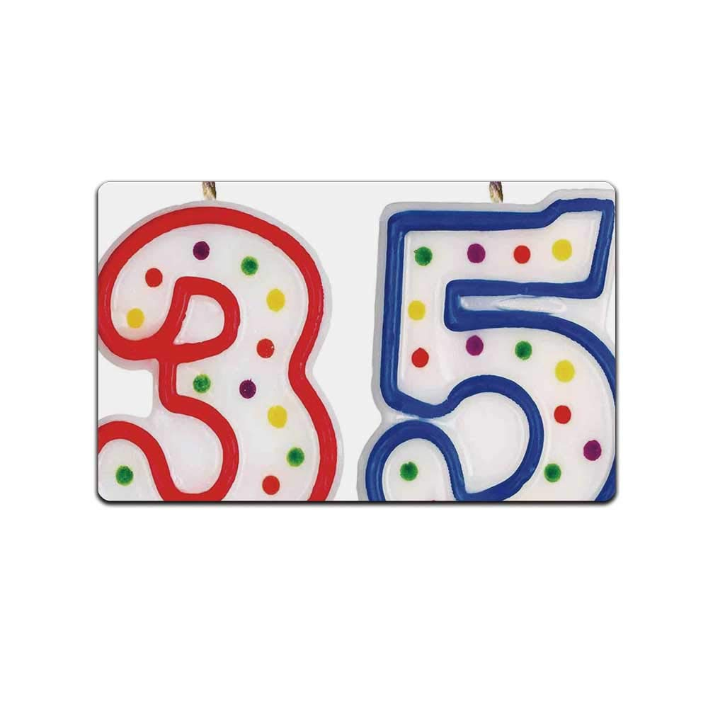 YOLIYANA 35th Birthday Decorations Decorative Doormat,Surprise Party Event Objects Number Candles Age Thirty Five for Bathroom,31'' Lx19 W