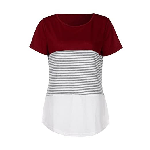 Amazon.com: Perman Cheap Women Fashion Triple Color Stripe Splice Short Sleeve Casual Tops T-Shirt Under 10 Dollars: Office Products