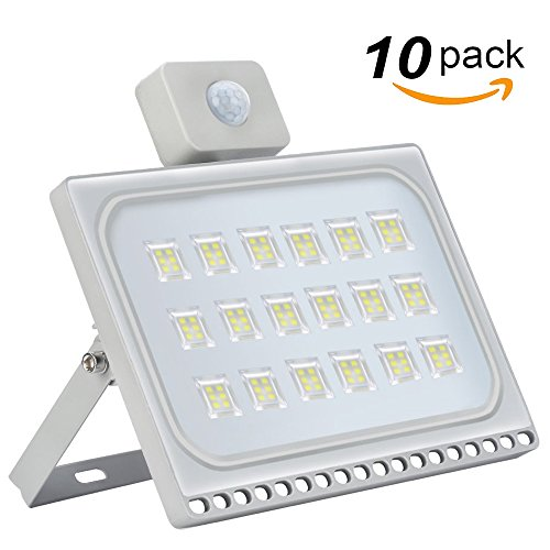 Missbee 10 Pack 100W LED Motion Sensor Flood Lights, Thinner Lighter Outdoor Work Light, Waterproof IP67, 11000LM, Super Bright PIR Security Lights, Cold White (6000-6500K) by Missbee