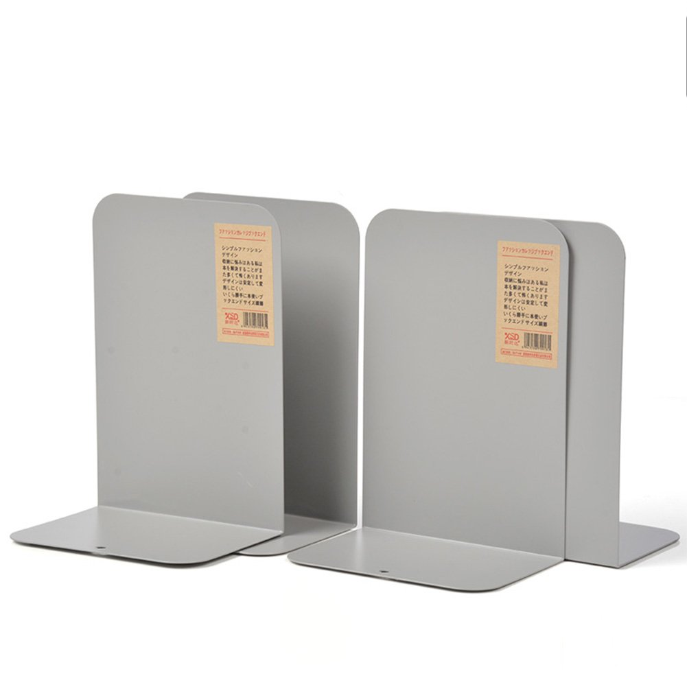 HaloVa Bookends, Decorative Universal Heavy Metal Book Organizers, Durable Nonskid Bookshelves for Home Office School Study Desk Books Storage, 2 Pairs, Large, Gray
