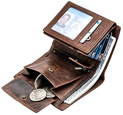 Large RFID Blocking Large Trifold Leather Wallet for Men with 3 ID Windows and Zipper Coin Pockets
