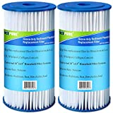 """5 Micron 10"""" x 4.5"""" Whole House Big Blue Pleated Sediment Water Filter Replacement Cartridge Compatible with DuPont WFHD13001, GE FXHSC, Culligan R50-BBSA, Pentek R50-BB, W50PEHD, GXWH40L, 2-Pack"""