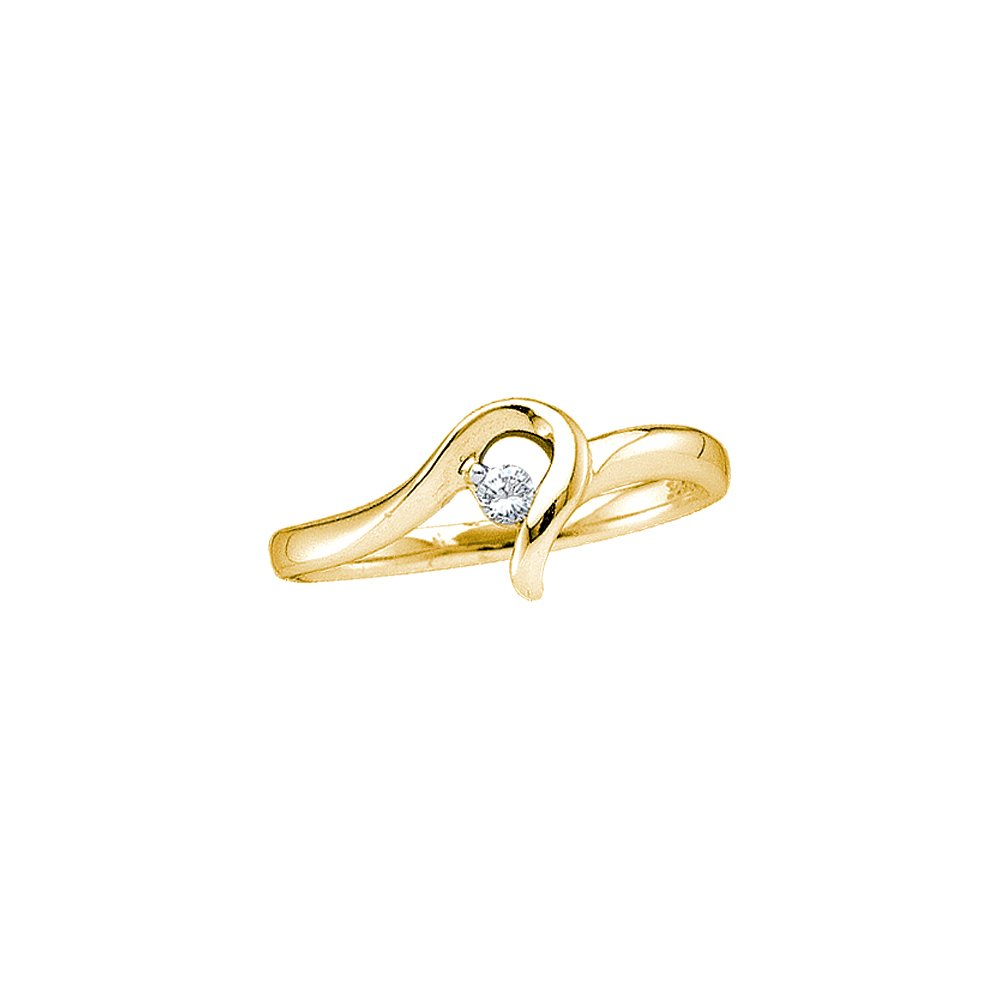 10kt Yellow Gold Womens Round Diamond Solitaire Promise Bridal Ring 1/20 Cttw