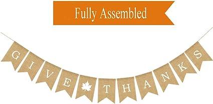 Jute Hessian Maple Leaf Thankful Banner Wedding Birthday Thanksgiving Decor