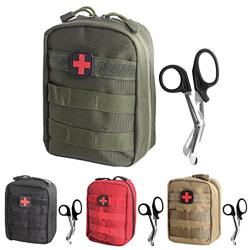 Tactical MOLLE EMT Pouch Medical Utility Bag 1000D Nylon with First Aid Patch and Shear (Green2 with First Aid (Military Waterproof First Aid Kit)