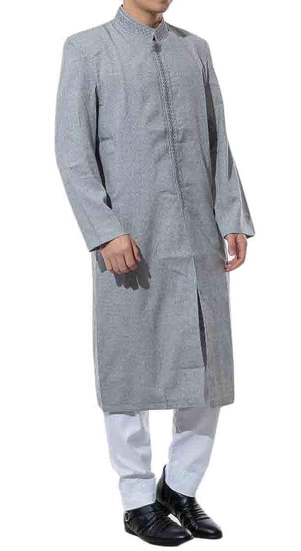 JXG Men Islamic Muslim Abaya Plus Size Relaxed Fit Longline Casual Top Shirt