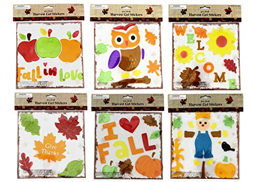 Regent Thanksgiving Fall Autumn Gel Sticker Window Clings Decoration Bundle 6 Packages