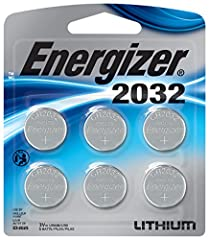 """Don't let their small size fool you: This 6-pack of Energizer 2032 Lithium Coin 3-Volt Batteries delivers big time on long-lasting, dependable power for your coin-battery-operated items. From heart rate or glucose monitors, to remotes, keyle..."
