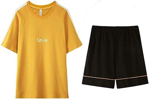 Pijamas Hombre Verano Fino Algodón De Dibujos Animados Conjunto De Manga Corta Usable Ropa De Casa Amarillo Regalos (Color : Yellow, Size : M): Amazon.es: Hogar