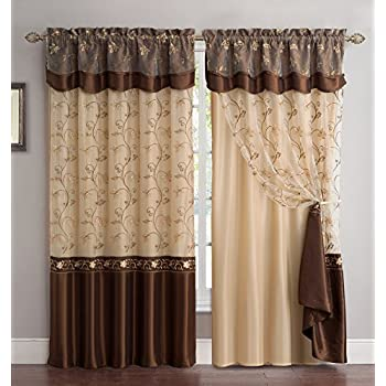 Fancy Collection Embroidery Curtain Set 1 Panel Drapes With Backing U0026  Valance (brown)
