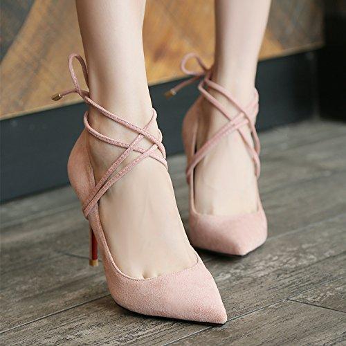Xue mit Qiqi Hochhackige Schuhe mit Xue hohen Absätzen Mädchen feine, helle - wilde satin mit schwarzer Spitze in der Frauen singles Schuhe, 34, pink 7 cm 367-8 - f504b9