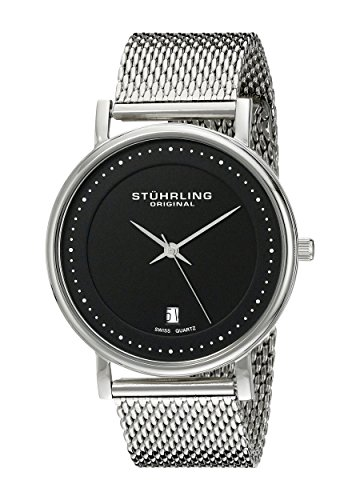 Stuhrling Original Men's 734GM.02 Ascot Casatorra Elite Swiss Quartz Date Stainless Steel Mesh Bracelet Watch