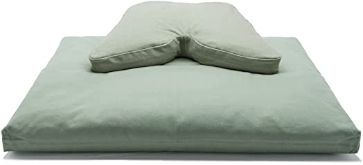 Sage Green Buckwheat Hull Regular Lift Cosmic Cushion Cotton Batting Zabuton Meditation Cushion Set