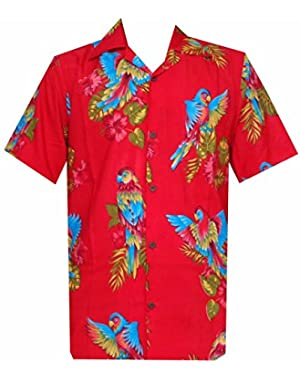 Hawaiian Shirt Mens Parrot/Toucan Print Beach Aloha Party