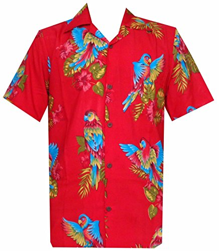 Hawaiian Shirt 39 Mens Parrot Print Beach Aloha Party Pure Red M