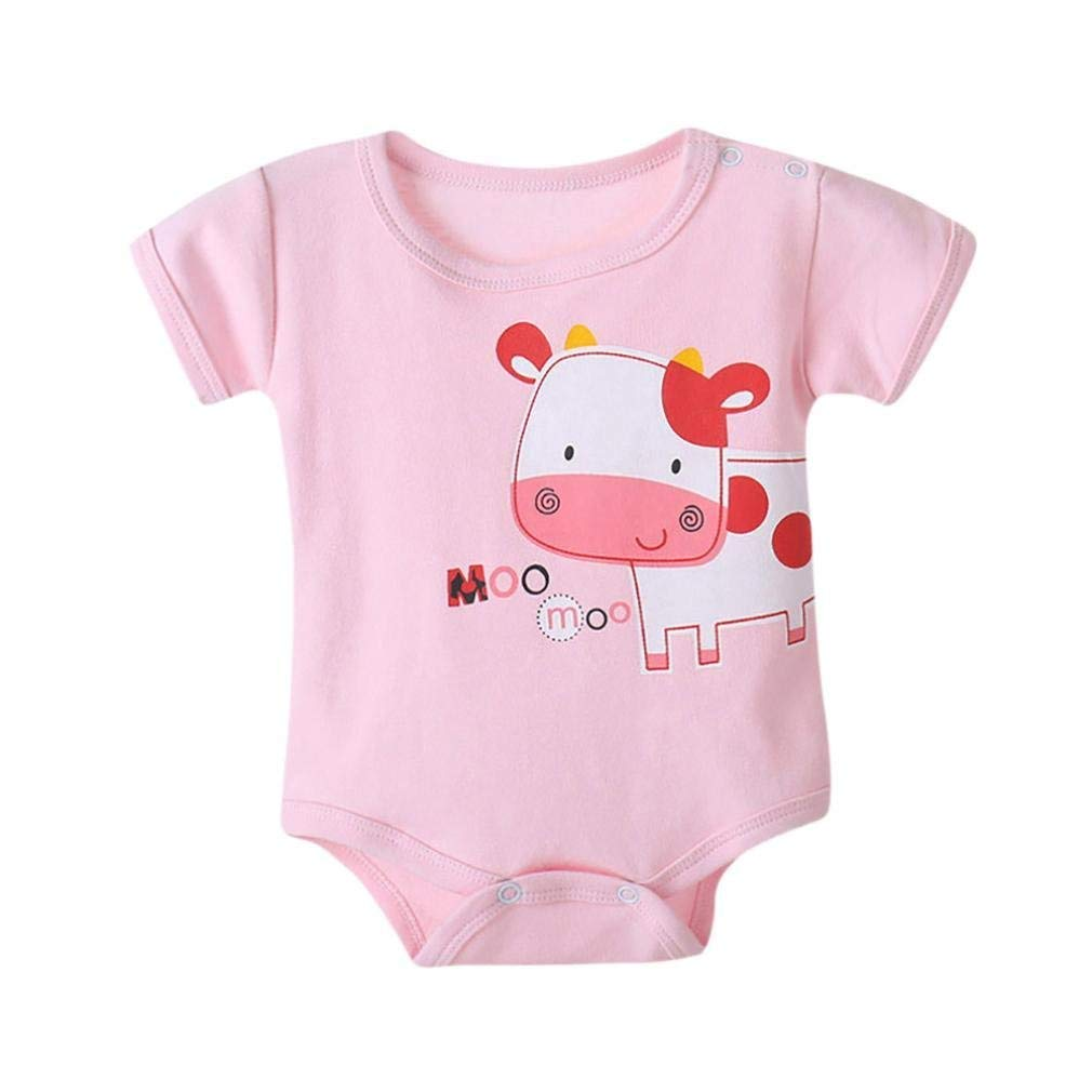 Junson Sleepsuits Newborn Infant Baby Boys Girls Cartoon Animals Print Romper Home Pajamas for 0-12 Months for You (Size : 6-12 Months|Pink)