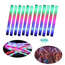 GREATLY 30 Pcs LED Colorful Foam Light Sticks Rave Party Cheering Glow Light Stick Flashing Foam Glow Stick Cheer Tube for Party Celebration Concert 48*4cm(18.9*1.6 inch)( Include battery )