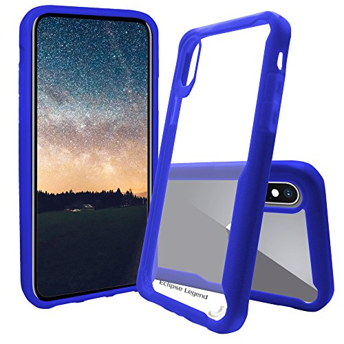 iPhone X Case, iPhone 10 Case Crystal Clear Back Case with Blue Bumper, Slim Hybrid TPU Protective Cover for iPhone X and iPhone 10, Clear