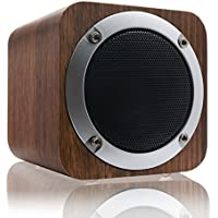 Bluetooth Speaker, LEFON Wooden Bluetooth 4.0 Wireless Speaker with FM Radio 1800mAh Rechargable Battery Support AUX TF Card MP3 Player (Black Walnut)