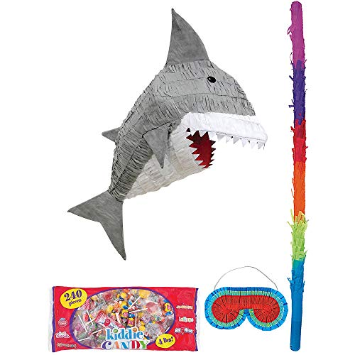 Party City Gray Shark Pinata Supplies, Include a Pinata, a Colorful Pinata Stick, a Blindfold, and 4 Pounds of Candy -