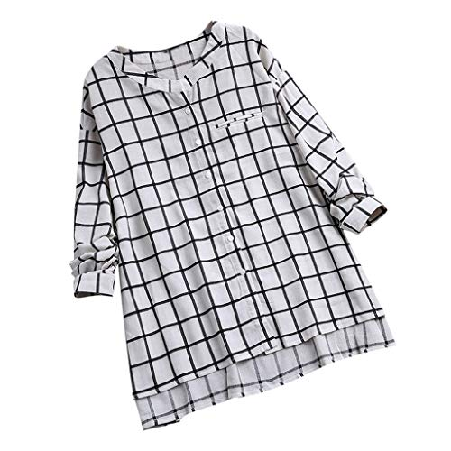 TANLANG☀Women Plaid Top Basic Button Down Shirts Long Sleeve Plus Size Tunic Tee Simple Cotton Stretch Formal Casual Blouse White