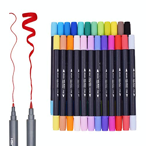 Clearance Sale! Dual Tip Brush Pens Art Marker,SAYEEC 24 Colors Brush...