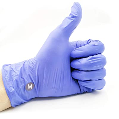 Nitrile Exam Gloves,100 Pcs Comfortable Disposable Nitrile Gloves - Safety, Powder Free, Latex Free (Large, Purple): Clothing