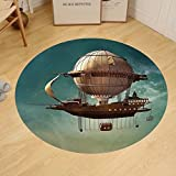 Gzhihine Custom round floor mat Fantasy Decor Surreal Sky Scenery with Steampunk Airship Fairy Sci Fi Stardust Space Image Bedroom Living Room Dorm Blue Gold