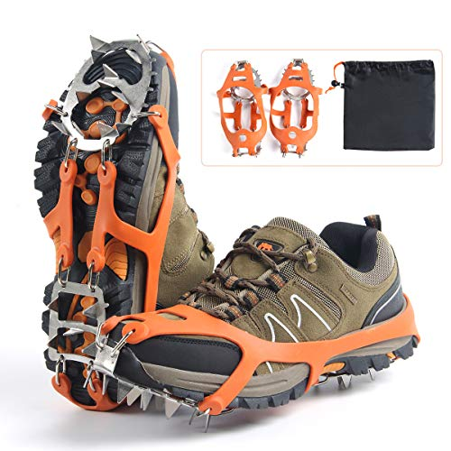 Ice Climbing Accessories (Ice Snow Grips Crampons 2 Colors Traction Cleats with 18 Spikes for Walking, Jogging, Climbing and Hiking on Snow Ice (Orange M))