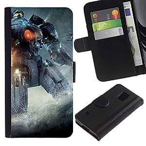 LECELL--Cuero de la tarjeta la carpeta del tirón Smartphone Slots Protección Holder For Samsung Galaxy S5 V SM-G900 -- Pacífico Rem Robot --