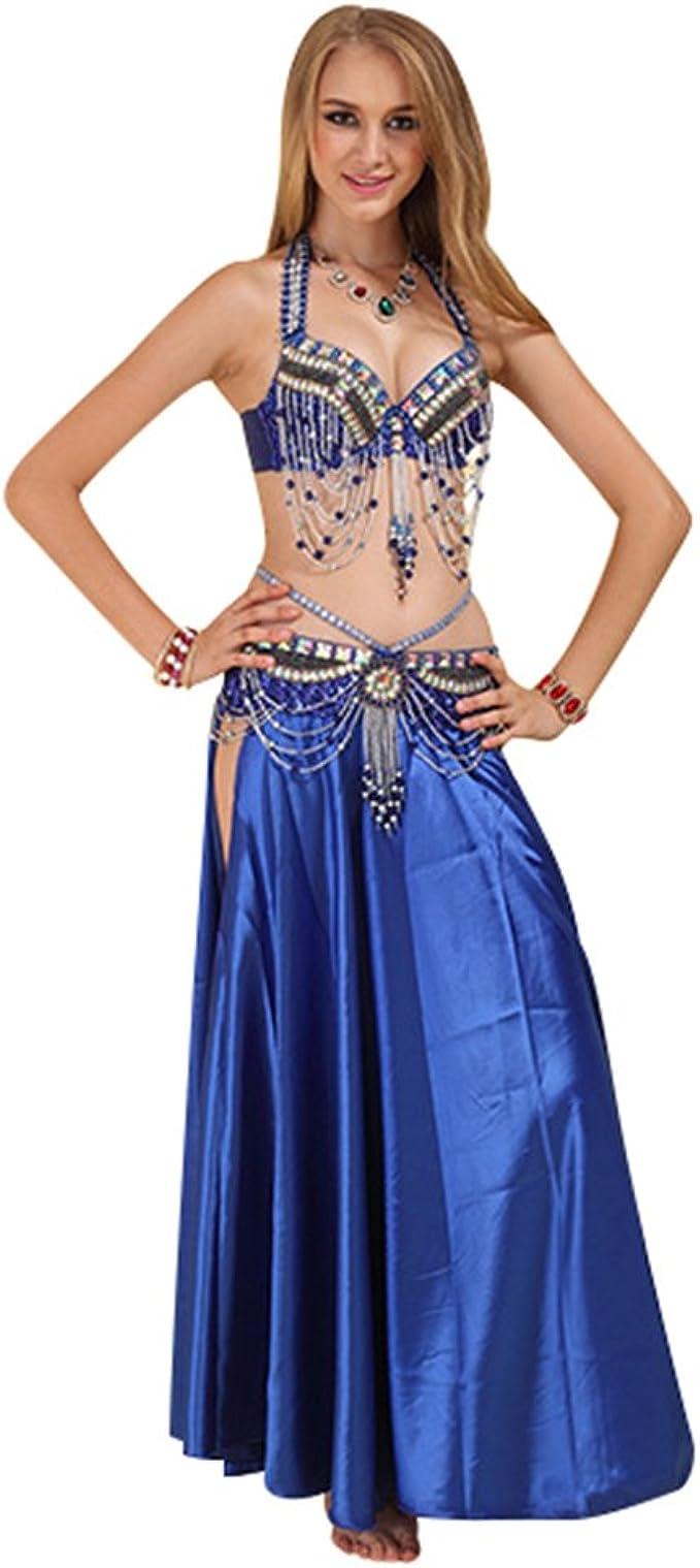 SunWanyi Profesionales Danza del Vientre Traje de Baile de La India Conjunto de Belly Dance Traje de Danza para Mujeres Descripci/ón de la Referencia
