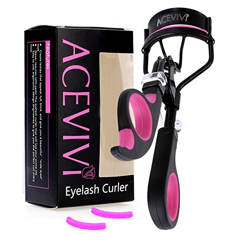 ACEVIVI Gorgeous Painless & Effortless Curled Eyelashes with Pink Black Eyelash Curler for 3D Fiber Lash Mascara with Red Soft Hand Grip Included Replacement Rubber Refill