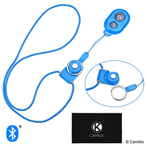 CamKix Camera Shutter Remote Control with Bluetooth Wireless Technology - Blue - Lanyard with Detachable Ring Mount - Capture Pictures/Video Wirelessly at 30 ft Compatible with iPhone/Android