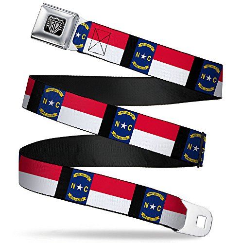 Buckle-Down Seatbelt Belt - North Carolina Flag/Black - 1.5